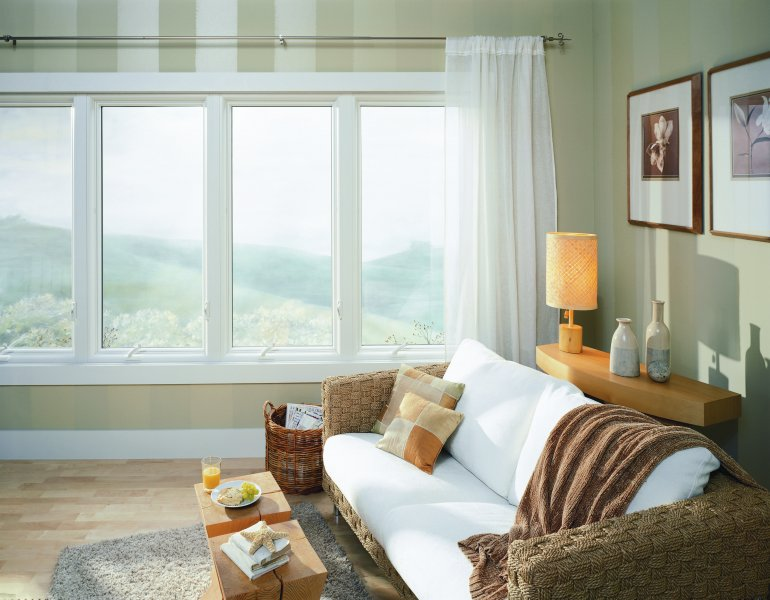 casement windows and white curtains